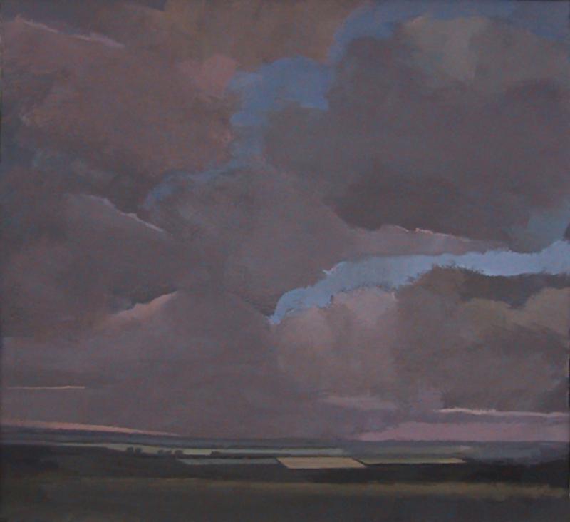 pafa alumn elizabeth wilson artist E Wilson gouache painting rural landscape pink sky clouds UK England Ireland Wales Scotland philadelphia