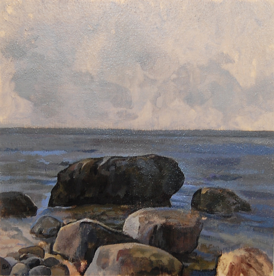 PAFA alum artist e wilson paintings by elizabeth wilson Philadelphia PA Greenport Orient Point 67 Step Beach North Fork Long Island New York South Street Gallery Greenport landscape gouache ink wash watercolor paintings oil paintings acrylic paintings rocks water Long Island Sound