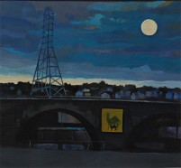 pafa alum elizabeth wilson artist E Wilson gouache oil painting urban landscape Philadelphia Shurs Lane Train Brigde Main Street Manayunk houses rooftops street scene night scene blue evening light dusk full moon blue moon clouds camel cigarette poster yellow rectangle electric tower tonalist arc bridge half circle road