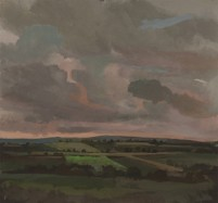 pafa alum elizabeth wilson artist E Wilson gouache oil painting rural landscape pink sky clouds UK Northumberland Westgate Lake District England Buttermere Ireland Wales Scotland philadelphia storm turbulence luminous tonal painting