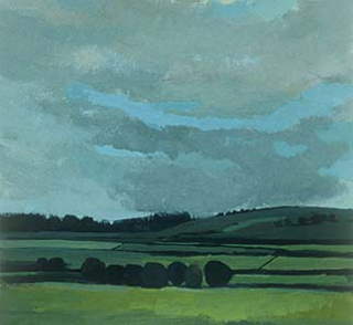"Storm Clearing Over English Field, UK (8.75"" x 9.5"") Gouache 2000"