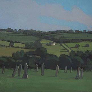 "View from St. Andrews, Narberth, Wales (4.75"" x 4.75"") Gouache 2005"