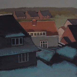"Guildford After Snow, UK (4.75"" x 4.75"") Gouache 2006 - 2007"
