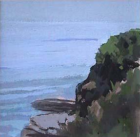 """Cliff Walk III, Newport, RI (4.75"""" x 4.75"""") Gouache 2003"""