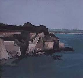 """Cliff Walk I, Newport, RI (4.75"""" x 4.75"""") Gouache 2003"""