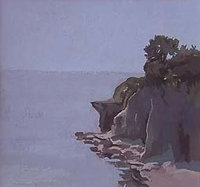 "Cliff Walk IV, Newport, RI (4.75"" x 4.75"") Gouache 2003"
