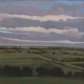 "Near Winchcombe II, UK (4.75"" x 4.75"") Gouache 2003"