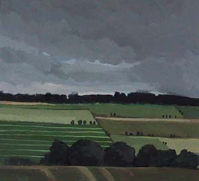 "Gloucestershire Field , UK (8.75"" x 9.5"") Gouache 2002"