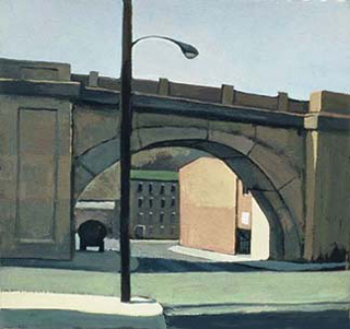 "Shurs Lane Train Bridge (8.75"" x 9.5"") Gouache 1997"