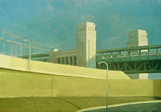 "Composition with Bridge (12 3/4"" x 18 3/4"") oil on museum board 1991"