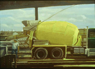 "Cement Truck (16"" x 23"") oil on museum board 1991"
