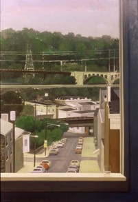 PAFA alum artist e wilson paintings by elizabeth wilson Philadelphia PA large oil painting on linen view from window power lines highway bridges urban houses from high vantage point expressway beyond green trees cars water glass on window sill collection of the Pennsylvania State Museum, Harrisburg