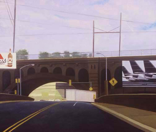 "Pedestrian Crossing (42"" x 48"") oil on linen 1992"