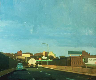 "North on the Boulevard (30"" x 36"") oil on wood 1989"