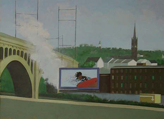 "Manayunk Viewed from Expressway (21.5"" x 29.5"") oil on paper 1995 - 2008"