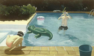 "Afternoon Swim-Bridgehampton (30"" x 50"") oil on linen 1993"