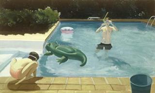 "Afternoon Swim-Bridgehampton (30"" x 50"") oil on linen 1993"