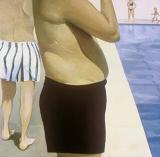 "Standing at Poolside (48"" x 48"") oil on linen 1993-1994"