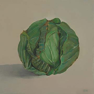 "Cabbage I (8"" x 8"") oil on panel 2007"