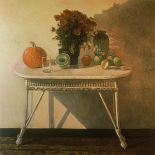 "Fall Mums (52"" x 52"") oil on linen 1984"
