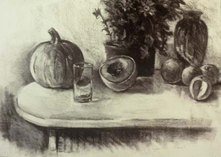"""October (24"""" x 31.5"""") Charcoal 1984"""