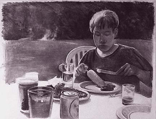 "Barbecue (21"" x 27"") charcoal 1995"