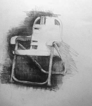 "Lawn Chair (16"" x 13.25"") charcoal 1988"