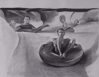 "Waterslide (17.5"" x 25.5"") charcoal 1995"