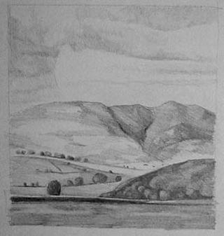 """Near Buttermere Sketch (4.75"""" x 4.75"""") graphite 2005"""