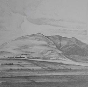 "Near Buttermere Sketch II (4.75"" x 4.75"") graphite 2005"
