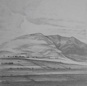 "Near Buttermere Sketch II (4.75"" x 4.75"") graphite 2005"