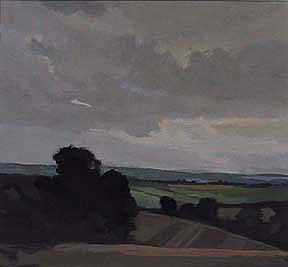 "Towards Great Malvern, UK (8.75"" x 9.5"") Gouache 2002"