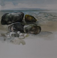 PAFA alum artist e wilson paintings by elizabeth wilson Philadelphia PA Greenport Orient Point 67 Step Beach North Fork Long Island New York South Street Gallery Greenport landscape gouache ink wash watercolor paintings oil paintings Long Island Sound