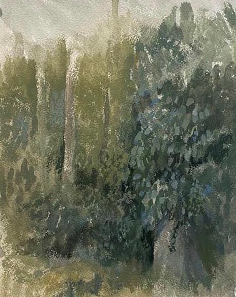 """Edge of the Woods III, (10"""" x 7""""), gouache & watercolor,  2020"""