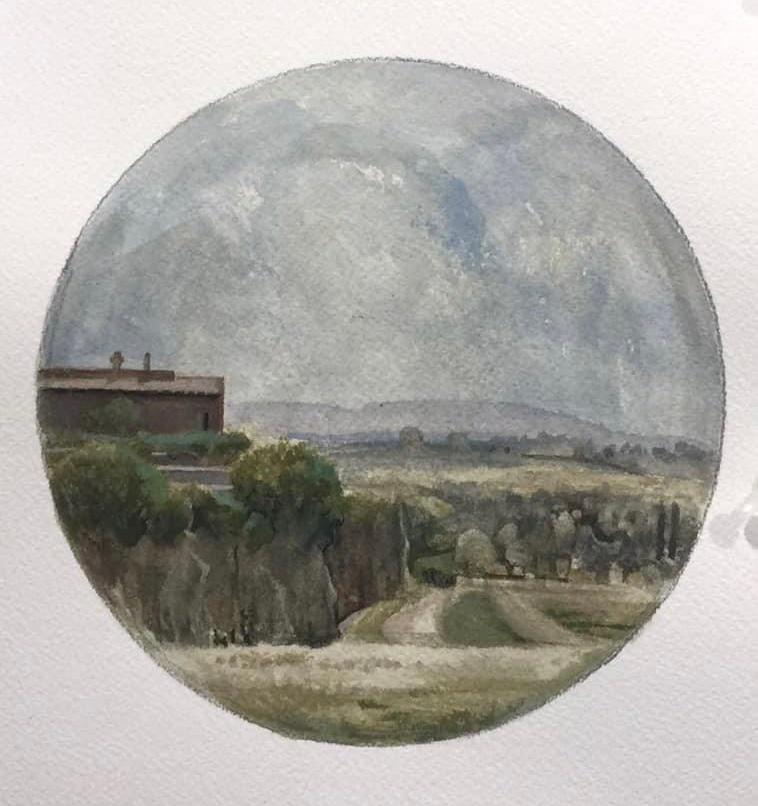 Civita Castellana - tondo, watercolor & gouache,  2020