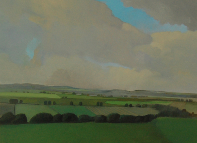 """Clouds Drifting Over Field, UK, 12"""" x 16"""", oil on panel, 2006-08"""